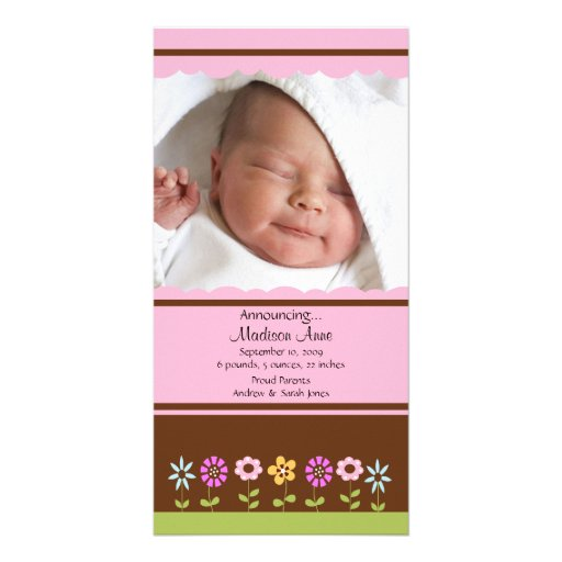 Meddelande för födelse för blommaflickaFOTO Hälsningskort Med Foto