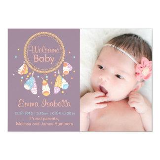 Meddelande för födelse för Dreamcatcher nyfödd 12,7 X 17,8 Cm Inbjudningskort