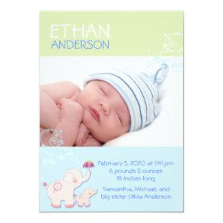 Meddelande för födelse för elefantpojkefoto 12,7 x 17,8 cm inbjudningskort