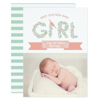 Meddelande för födelse för flicka   för blommigt 12,7 x 17,8 cm inbjudningskort
