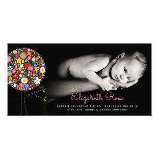 Meddelande för födelse för flicka för vår fotokort