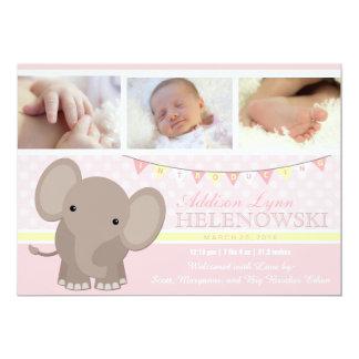 Meddelande för födelse för flickaelefantfoto 12,7 x 17,8 cm inbjudningskort
