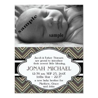 Meddelande för födelse för för sparrenyfödd 10,8 x 14 cm inbjudningskort