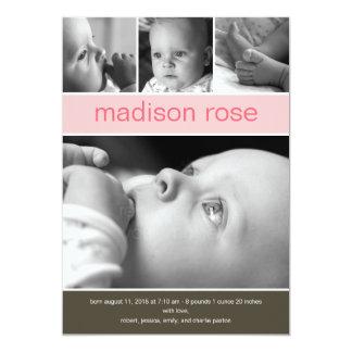 Meddelande för födelse för foto för 12,7 x 17,8 cm inbjudningskort