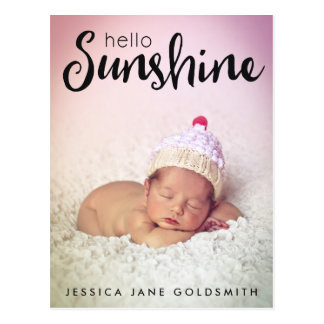 Meddelande för födelse för foto för vykort