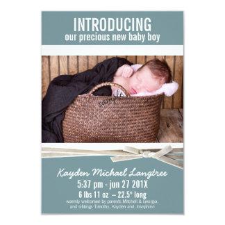 Meddelande för födelse för fotonyfödd bebispojke 8,9 x 12,7 cm inbjudningskort