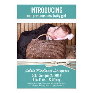 Meddelande för födelse för krickanyfödd 8,9 x 12,7 cm inbjudningskort