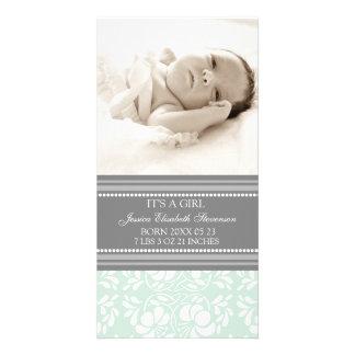 Meddelande för födelse för nyfödd bebis för Mintgr Fotokort