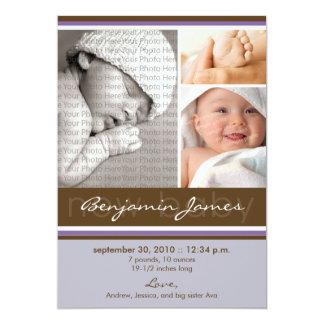 Meddelande för födelse för nyfödd bebisfotoTrio 12,7 X 17,8 Cm Inbjudningskort