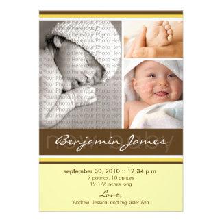 Meddelande för födelse för nyfödd bebisfotoTrio (g