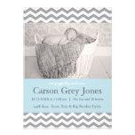 Meddelande för födelse för pojke för grå färgsparr personliga inbjudan