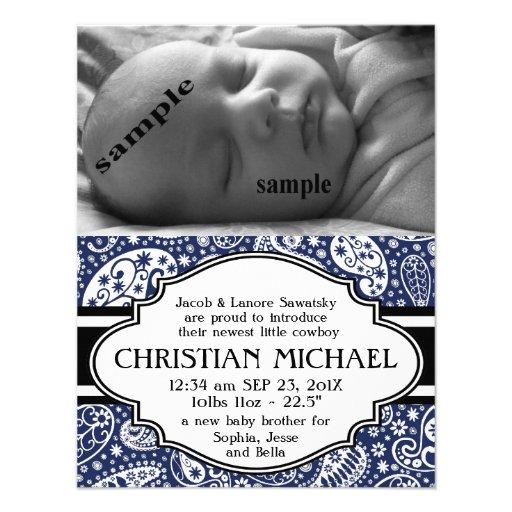 Meddelande för födelse för pojke för landPaisley n Anpassade Inbjudan