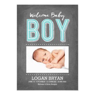 Meddelande för födelse för svart tavla   för pojke 12,7 x 17,8 cm inbjudningskort