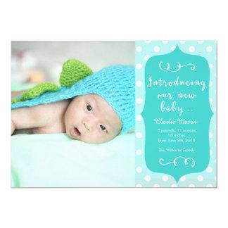 Meddelande för foto för blåttpolka dotsnyfödd 12,7 x 17,8 cm inbjudningskort