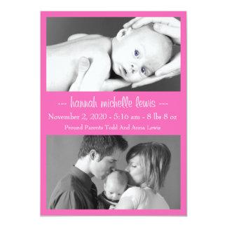 Meddelande för fotoDuonyfödd bebis (mörka rosor) 12,7 X 17,8 Cm Inbjudningskort