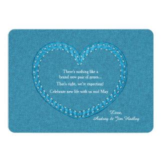 Meddelande för jeanshjärtagravid 12,7 x 17,8 cm inbjudningskort