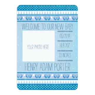 Meddelande för nyfödd bebispojkefödelse 12,7 x 17,8 cm inbjudningskort