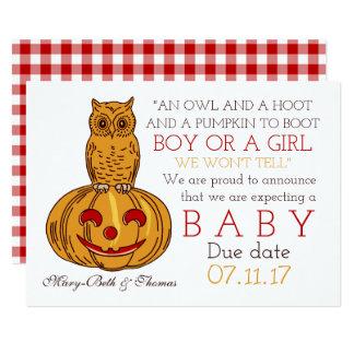 Meddelande för pumpauggla- & Ginghamnyfödd bebis 12,7 X 17,8 Cm Inbjudningskort