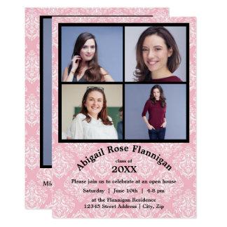 Meddelande för rosa Damast för Collage för fyra 12,7 X 17,8 Cm Inbjudningskort