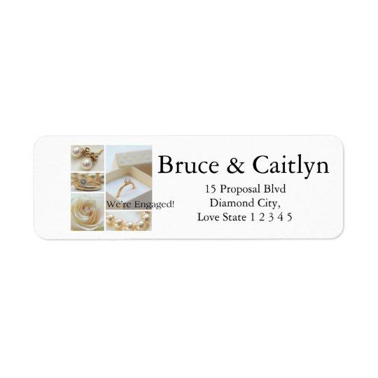 Meddelande för vitcollageförlovning returadress etikett
