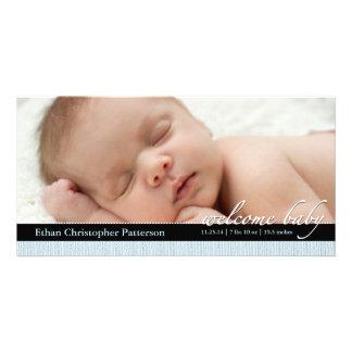 Meddelande Photocard för födelse för strumpebandso Fotokort