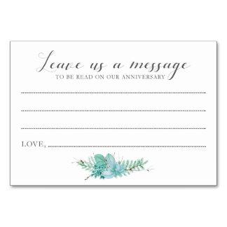 Meddelande till brud- och brudgumsuckulentkort bordsnummer