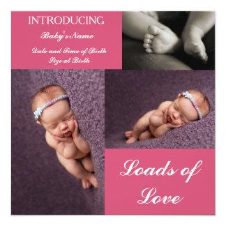 meddelandekort för födelse 3 in-1 fyrkantigt 13,3 cm inbjudningskort