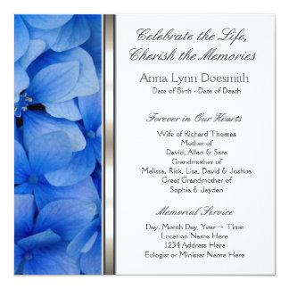 Meddelanden för blåttvanlig hortensiabegravning fyrkantigt 13,3 cm inbjudningskort