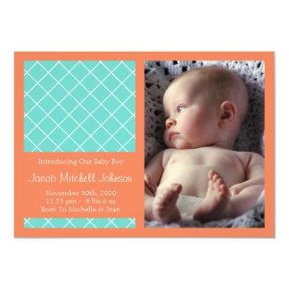 Meddelanden för diamantbakgrundsnyfödd bebis 12,7 x 17,8 cm inbjudningskort