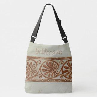 Medelhavs- keramisk dekorativ gräns någon text axelväska