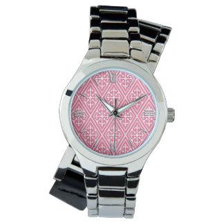 Medeltida damastast diamanter, korallrosor & vit armbandsur