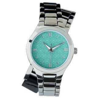 Medeltida damastast diamanter, turkos och aqua armbandsur
