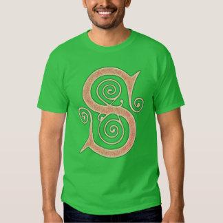 Medeltida gotisk Monogramgrönt och orange för brev T Shirts