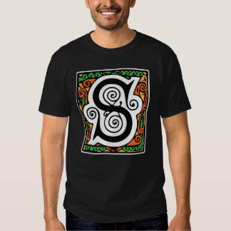 Medeltida gotiskt för Monogramlördag för brev S Tee Shirts