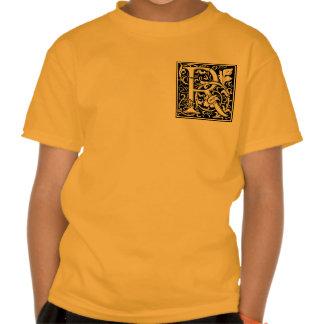 Medeltida initial Monogramvintage för brev R Tee Shirt