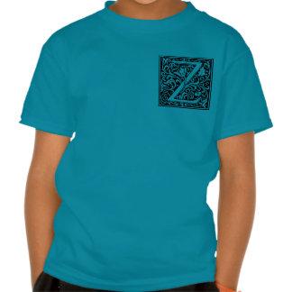 Medeltida initial Monogramvintage för brev Z T Shirts