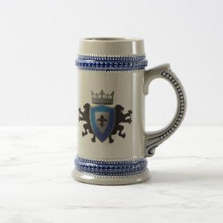 Medeltida lejon heraldiköl Stein för blått Sejdel