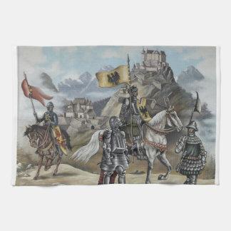Medeltida öde för party för slott för riddarehästl kökshandduk