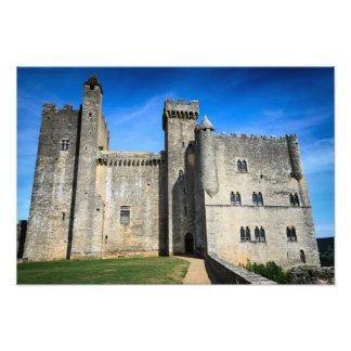 Medeltida tryck för foto för chateaude Beynac