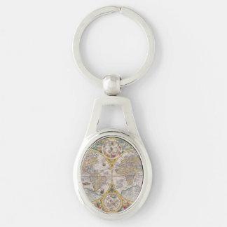Medeltida världskarta från 1525 ovalt silverfärgad nyckelring