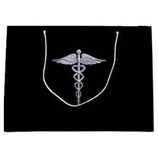 Medicinskt symbol för silverCaduceus på svart