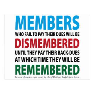 Medlemmar Dismembered 1 Vykort