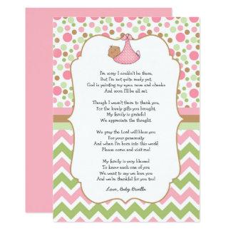 Medlet flår baby showertackkort med dikt 12,7 x 17,8 cm inbjudningskort