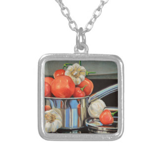 Medley för tomatpepparvitlök silverpläterat halsband