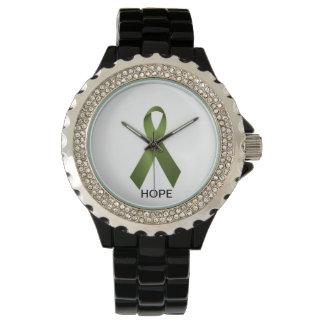 Medvetenhet för Palsy för grön bandklocka Celiac Armbandsur