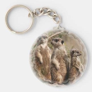 Meerkat familj Keychain Rund Nyckelring