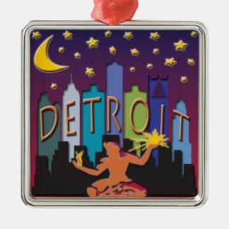 Mega färg för Detroit horisont Julgransprydnad Metall