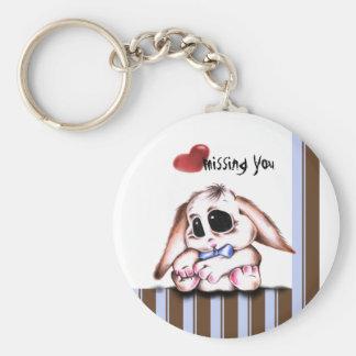 Megg: En gullig kanin - pojke, saknad dig, keychai Rund Nyckelring
