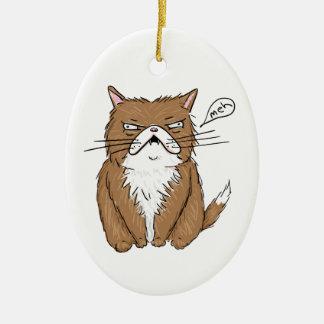 Meh rolig Grumpy kattteckning Julgransprydnad Keramik