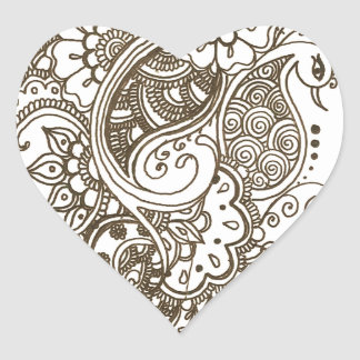 Mehndi Hjärtformat Klistermärke
